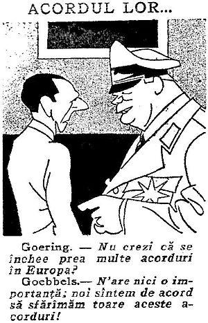 Mihai Ralea - Anti-Nazi cartoon in Viața Românească, February 1934: Joseph Goebbels and Hermann Göring joking about the European alliances