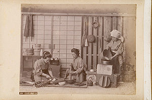 Japanese kitchen - Three women cooking in a Japanese cook house
