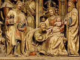 Adoración de los Reyes Magos, retablo mayor de la Seo o Catedral del Salvador de Zaragoza, España.jpg