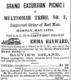 Emma Hayward - Advertisement published May 8, 1872, for an excursion of the Improved Order of Red Men to Sauvie Island.