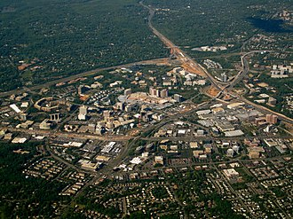 Edge city - Aerial view of Tysons, Virginia, a typical edge city with a large amount of office and retail space