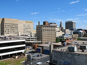 Aerial view of downtown Lincoln, Nebraska, USA (looking southeast).jpg
