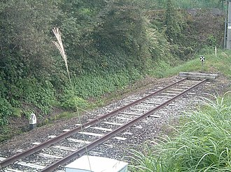 Agatsuma Line - 55.6 km post marking the end of the line at Ōmae Station