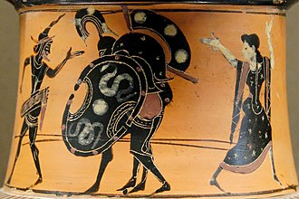 Antimenes Painter - Ajax, protected by Hermes and Athena carries the body of Achilles back to the Greek camp, 520–510 BC, Louvre.