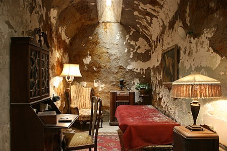 An inside, high-resolution picture of Al Capone's cell as it exists today at Eastern State Penitentiary.