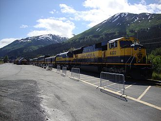 Seward, Alaska - A northbound Alaska Railroad passenger train idles at the Seward depot on June 30, 2010
