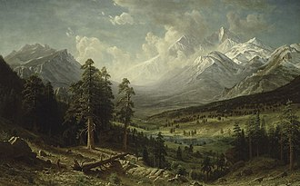 Estes Park, Colorado - Albert Bierstadt was commissioned by The 4th Earl of Dunraven and Mount-Earl to make a painting of the Estes Park and Longs Peak area in 1876 for $15,000. The painting, originally displayed in Dunraven Castle in Glamorgan, is now in the collection of the Denver Art Museum.