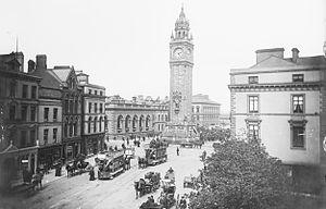 Albert Memorial Clock, Belfast - Albert Memorial with Belfast Street Tramways in 1901.