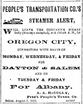 People's Transportation Company - Image: Alert ad 20 Oct 1870