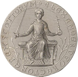 Treaty of York - Steel engraving and enhancement of the Great Seal of Alexander II