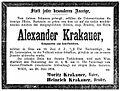 Alexander Krakauer (1886–1894) Todesanzeige.jpg
