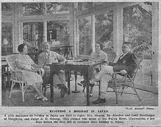 Fujiya Hotel - Atholl MacGregor, Chief Justice of Hong Kong and Allan Mossop, Judge of the British Supreme Court for China, at the Fujiya Hotel in 1935
