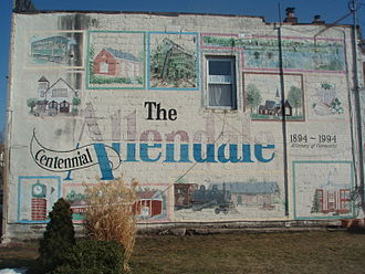 Allendale, New Jersey - Building In Allendale covered with artwork by local artists