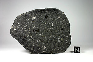 Allende meteorite - Allende meteorite - image by Matteo Chinellato; cube = 1 cm