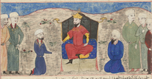 Alp Arslan on throne Majma al-Tawarikh by Hafiz Abru.png