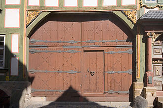 Wicket gate - Gate and wicket (manway) of Alsfeld's New Town Hall