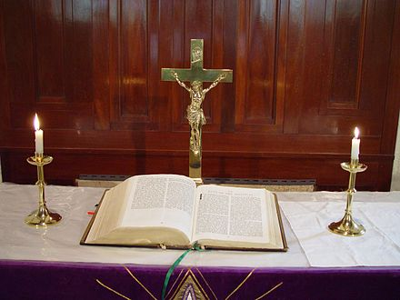 A Bible is placed centrally on a Lutheran altar, highlighting its importance Altar and bible st Johns Lutheran.jpg