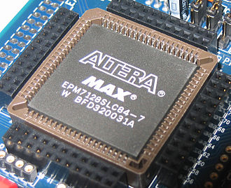 Complex programmable logic device - An Altera MAX 7000-series CPLD with 2500 gates.