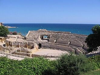 Tarragona - Amphithéâtre of Tarragona and the Mediterranean Sea