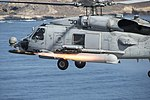 An MH-60R Sea Hawk helicopter fires an AGM-114M Hellfire missile near San Clemente Island, Calif. (26214593462).jpg