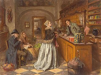 The retail service counter was an innovation of the eighteenth century Ana Marie Wirth Apotheke.jpg