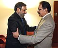 Anand Sharma with his Pakistani counterpart, Mr. Makhdoom Muhammad Amin Fahim, at a bilateral meeting, on the sidelines of the 8th Ministerial Conference of WTO, at Geneva December 16, 2011.jpg