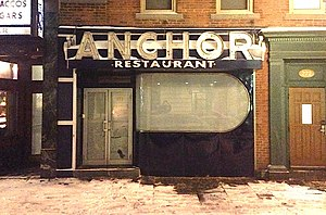 Anchor (New Haven bar) - Art-moderne facade of the defunct bar in March 2015