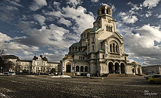 Alexander Nevsky Cathedral, Sofia - Alexander Nevsky Cathedral and National Gallery for Foreign Art behind.