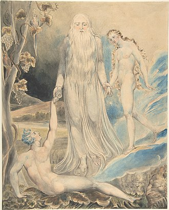 "Eve - William Blake's pencil illustration of The Creation of Eve in response to the line ""And She Shall Be Called Woman"". The object was created c. 1803–05 and currently is held by the Metropolitan Museum of Art"
