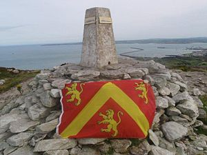 Flag of Anglesey - The Anglesey flag displayed on the summit of Anglesey, Holyhead Mountain
