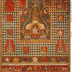 Painted Banner (paubha) of Goddess Ushnishavijaya Within a Funerary Mound (chaitya) and Surrounded by Chaityas