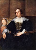 Anthony van Dyck - Portrait of Anna van Thielen, the wife of the painter Theodoor Rombouts with their daughter.jpg