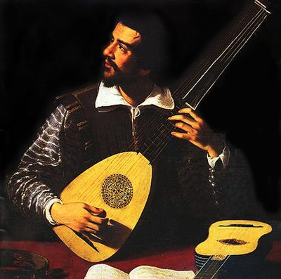 An Italian painting of Johannes Hieronymus Kapsberger playing theorbo. It is by the painter Giovanni Girolamo. Antiveduto Gramatica - The Theorbo Player (cropped).jpg