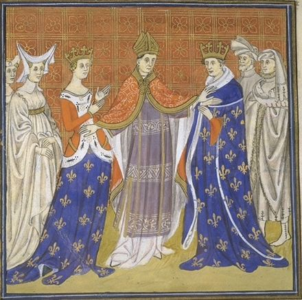 Pope John XXII annulling the marriage of Charles the Fair and Blanche of Burgundy Anulace.jpg