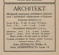 Architekt, advertisement (Katalog wystawy architektury i wnętrz... 1912, s. 9).jpg