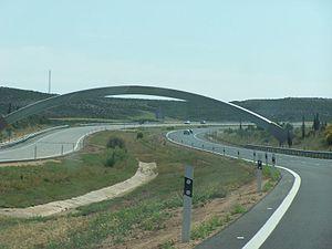 Autopista AP-2 - The AP-2 crosses the Greenwich Meridian
