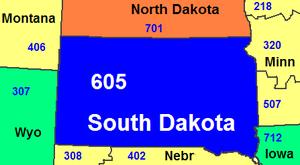 Area code 605 - Image: Area code SD