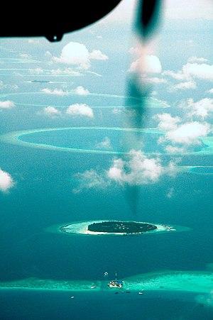 Eastern reef of Maldivian Ari Atoll from seapl...