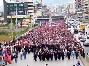Armenians in Lebanon - Around 10,000 Lebanese-Armenians marching on April 24, 2006, on the 91st anniversary of the Armenian Genocide