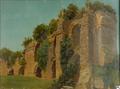 Arnold Ludwig August Overbeck Blick auf Ruinen eines Aquäduktes in römischer Campagnalandschaft .png