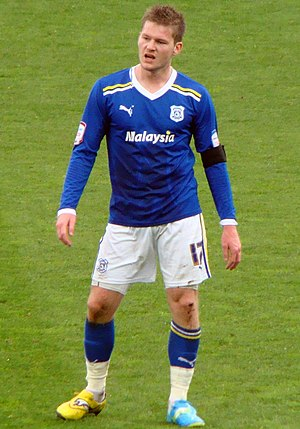 Aron Gunnarsson - Aron playing for Cardiff City in 2012