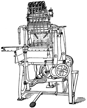 Line drawing of a large, floor-standing sewing machine.