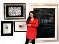 Artist Soraya Sikander with her untitled landscape painting in black.jpg
