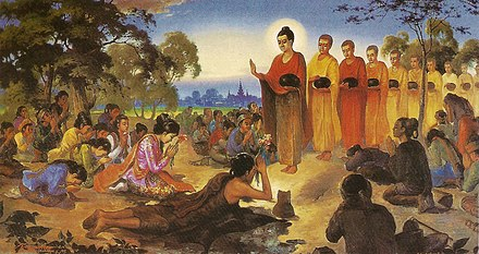 "A depiction of Siddhartha Gautama in a previous life prostrating before the past Buddha Dipankara. After making a resolve to be a Buddha, and receiving a prediction of future Buddhahood, he becomes a ""bodhisatta"". Ascetic Sumedha and Dipankara Buddha.jpg"