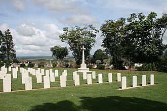 Atherton War Cemetery - Format layout of the war cemetery contrasted the less formal general cemetery to the rear, 2008