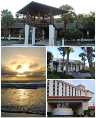 Atlantic Beach, Florida - Images top, left to right: City Hall, sunrise at the beach, Adele Grage Cultural Center, One Ocean Resort