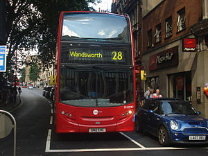 London Buses route 28 - Tower Transit Alexander Dennis Enviro400 at Kensington High Street in August 2013