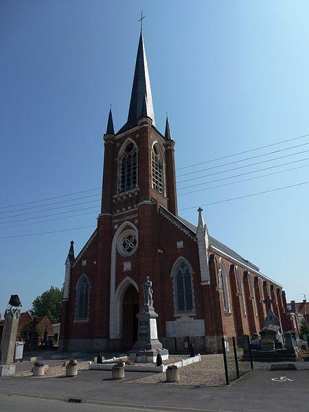 Auchy-lez-Orchies (Nord, Fr) église, extérieur