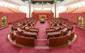 Crossbencher - The Australian Senate. Crossbenchers sit in the seats between the two sides.