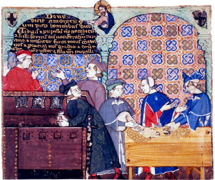 A 14th century manuscript depicting bankers in an Italian counting house. Avarice1.png